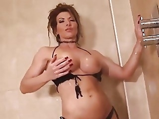 Lynda Leigh milf strip naked in shower and wanks her pussy big tits english