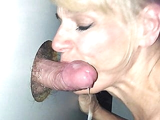 Glory Hole Slut Gets the Cum blonde blowjob