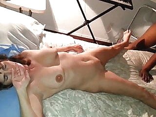 Wife not happy nervous as black cock fucks and creampies her brunette cumshot
