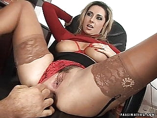 Secretary Mandy in red high heel sandals screws her boss anal facial