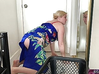 Stepmom helps horny stepson amateur blonde
