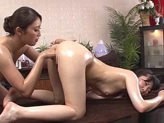 Alluring Asian lesbians get freaky in a massage parlour anal/anaru asian