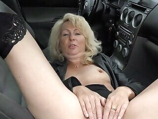 Sexy matured in leather coat with the addition of boots blonde blowjob